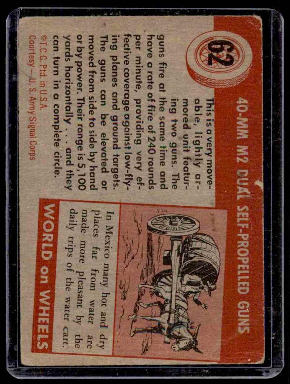 1954 World On Wheels U.S. Army #62 card back image