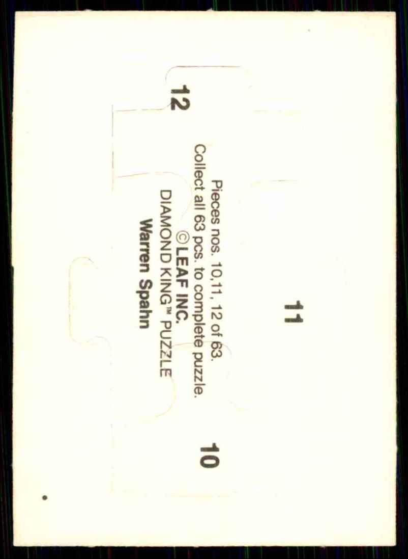 1989 Donruss Warren Spahn Puzzle Spahn Puzzle 10-12 #10 card back image