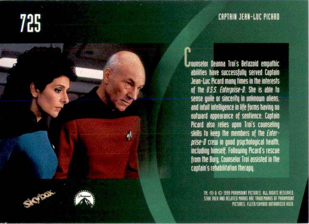 1994 Star Trek The Next Generation Episode Collection Counselor Deanna Troi #725 card back image