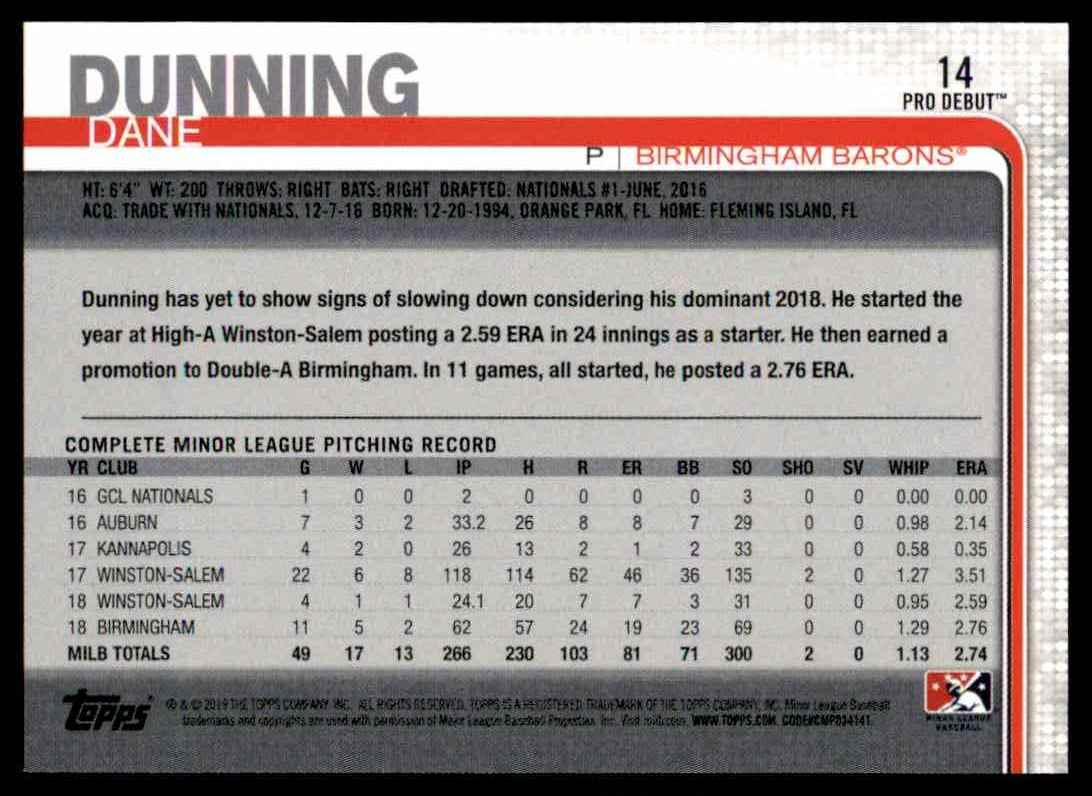 2019 Topps Pro Debut Dane Dunning #14 card back image