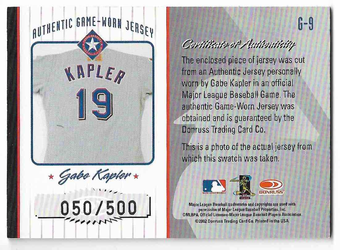 2002 Donruss Originals Gabe Kapler #G-0 card back image