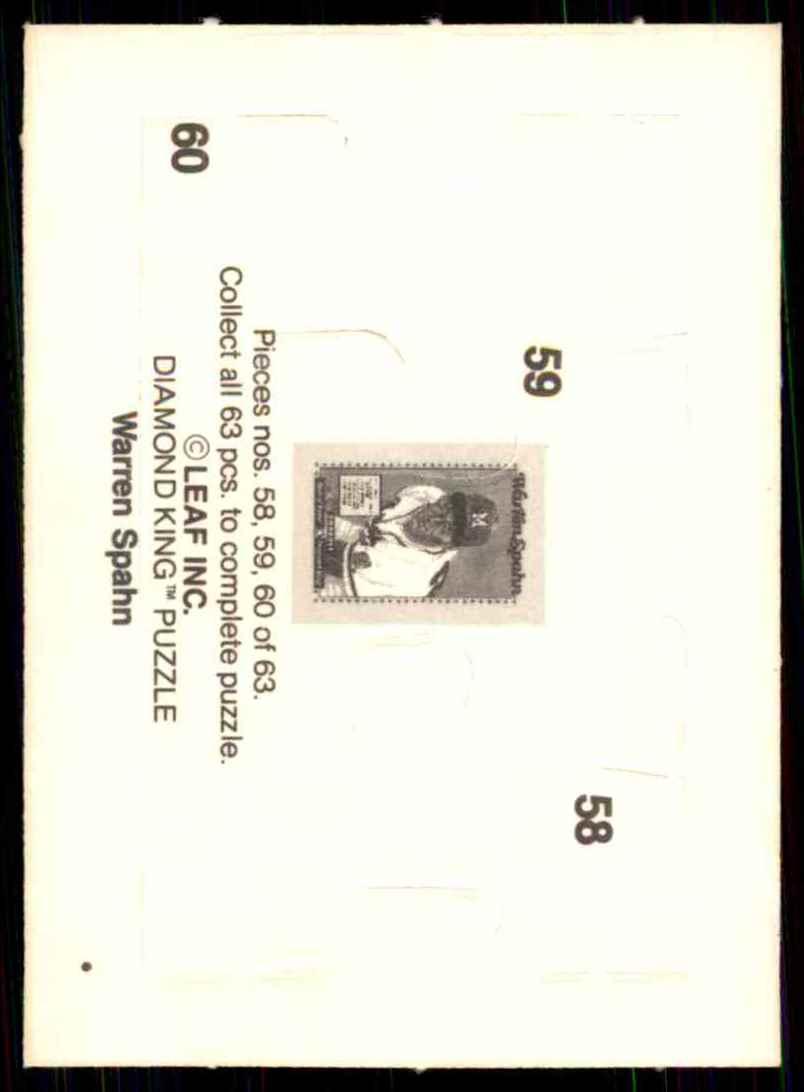 1989 Donruss Warren Spahn Puzzle Spahn Puzzle 58-60 #58 card back image
