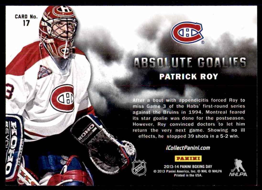 2013-14 Panini Absolute Hockey Patrick Roy #17 card back image