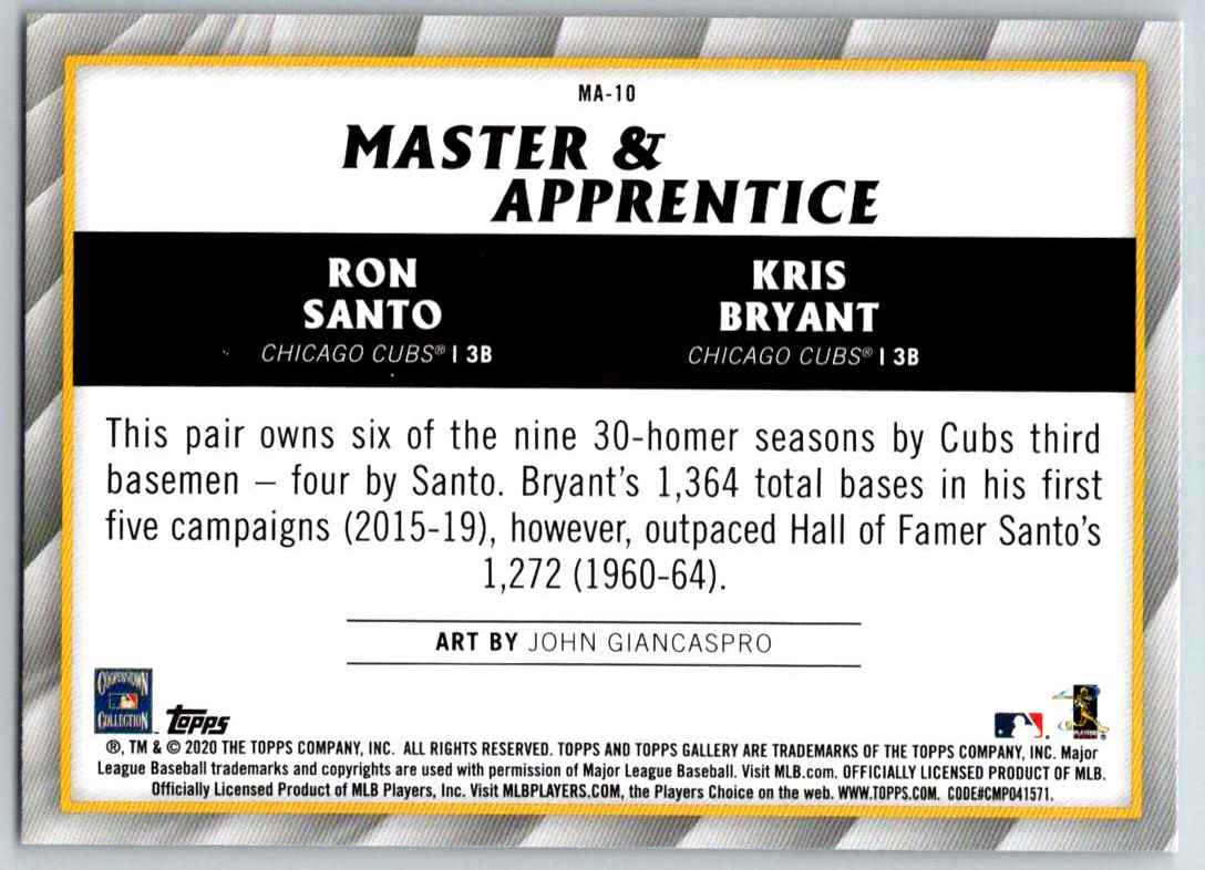 2020 Topps Gallery Master And Apprentice Ron Santo Kris Bryant #MA-10 card back image