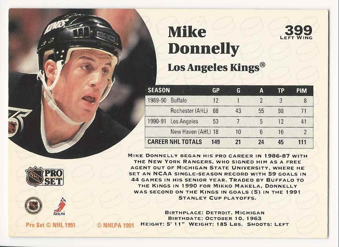 1991-92 Pro Set Mike Donnelly #399 card back image