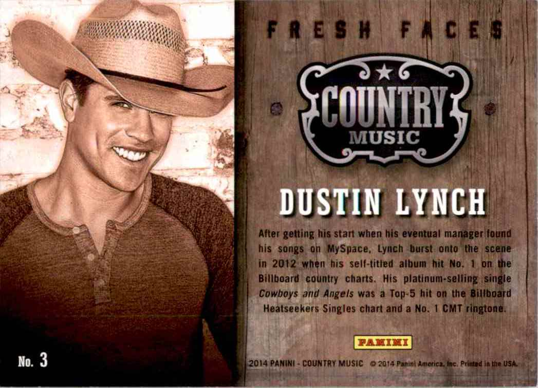 2015 Country Music Fresh Faces Purple Dustin Lynch #3 card back image