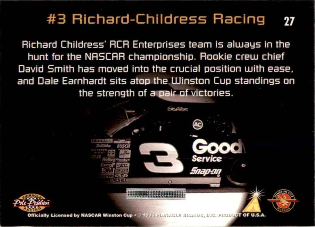 1996 Pinnacle Pole Position Dale Earnhardt's Car #27 card back image