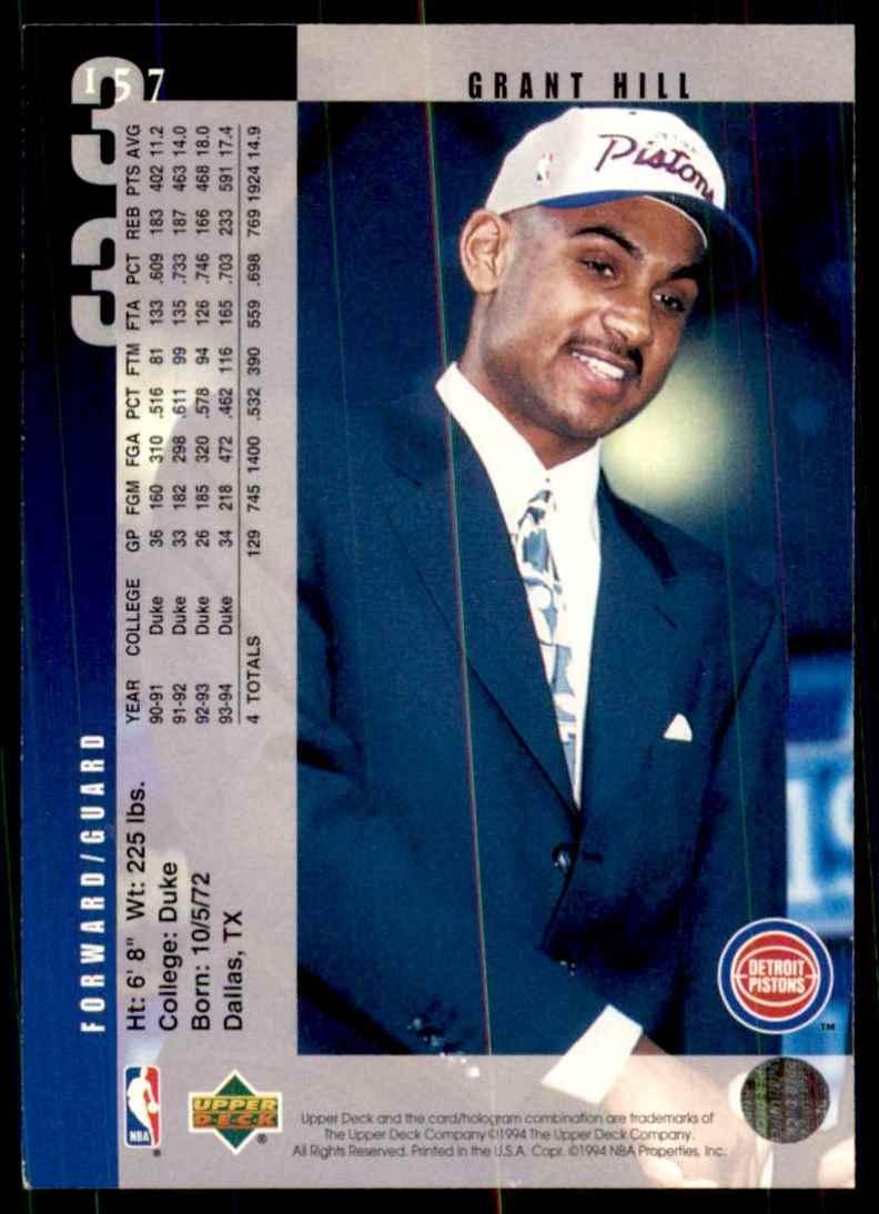 1994-95 Upper Deck Grant Hill RC #157 card back image
