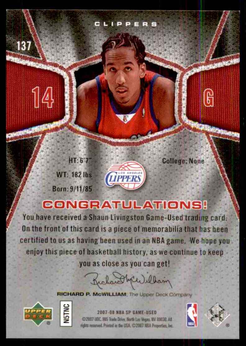 2007-08 SP Game Used Shaun Livingston Jsy #137 card back image