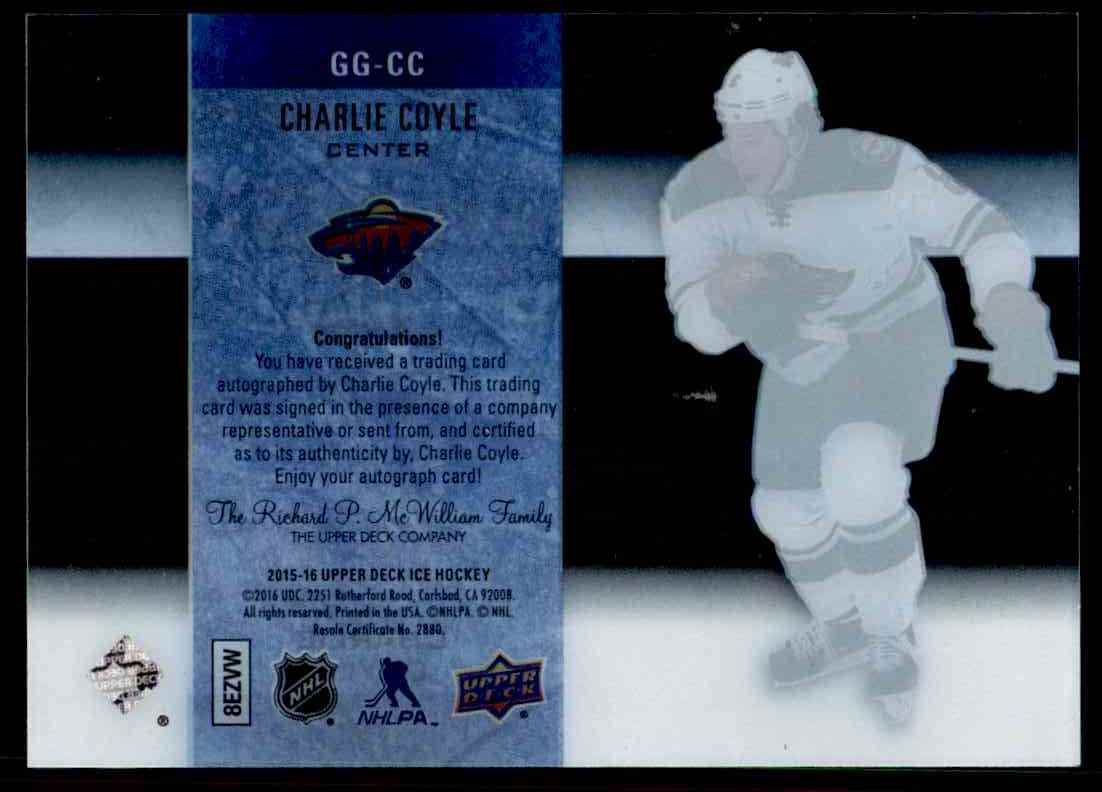 2015-16 Upper Deck Ice Glacial Graph Charlie Coyle #GG-CC card back image