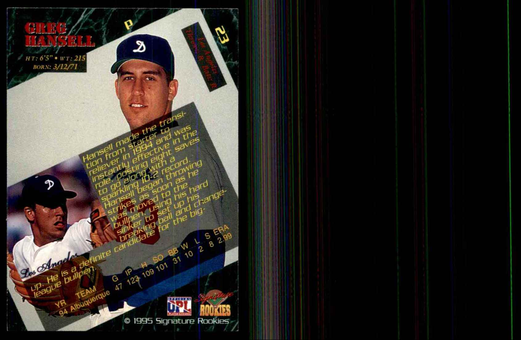 1995 Signature Rookies Greg Hansell #23 card back image