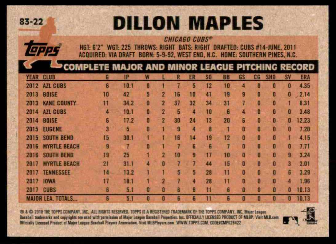 2018 Topps Series 2 1983 Insert Dillon Maples #22 card back image