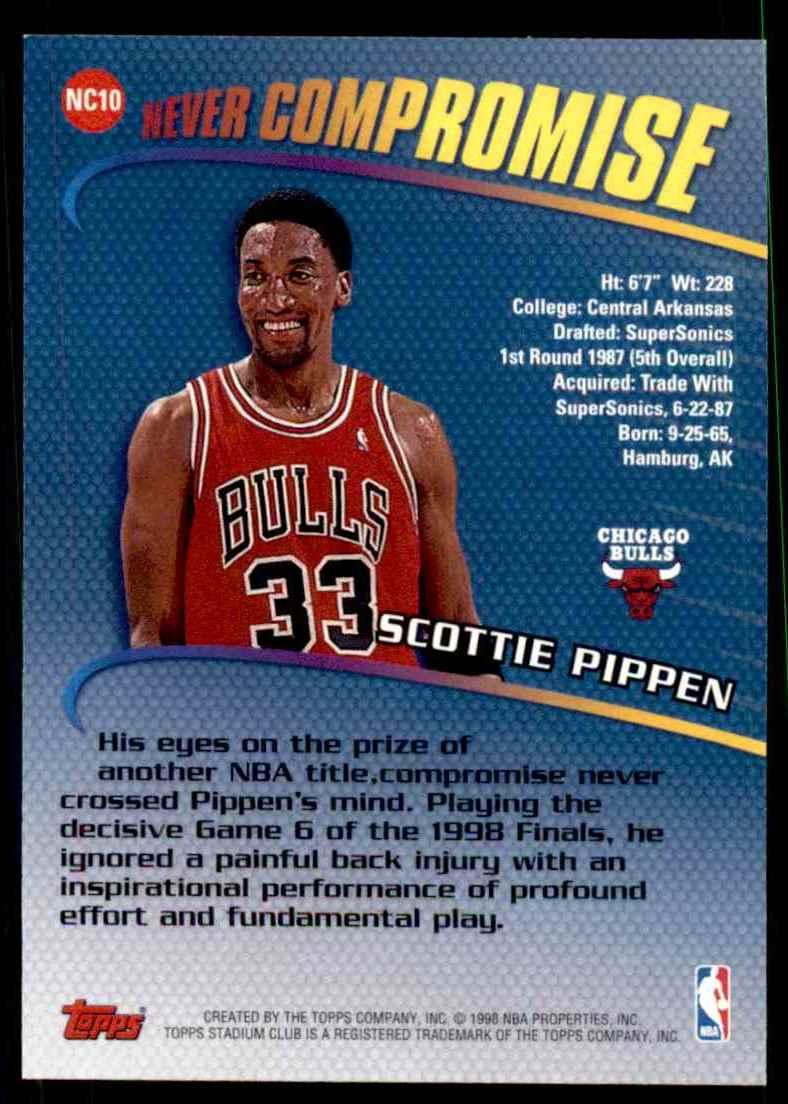 promo code e7054 5e399 1998-99 Stadium Club Never Compromise Scottie Pippen #NC10 ...