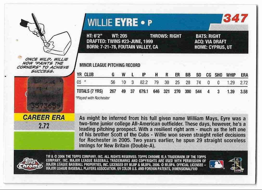 2006 Topps Chrome Willie Eyre card back image