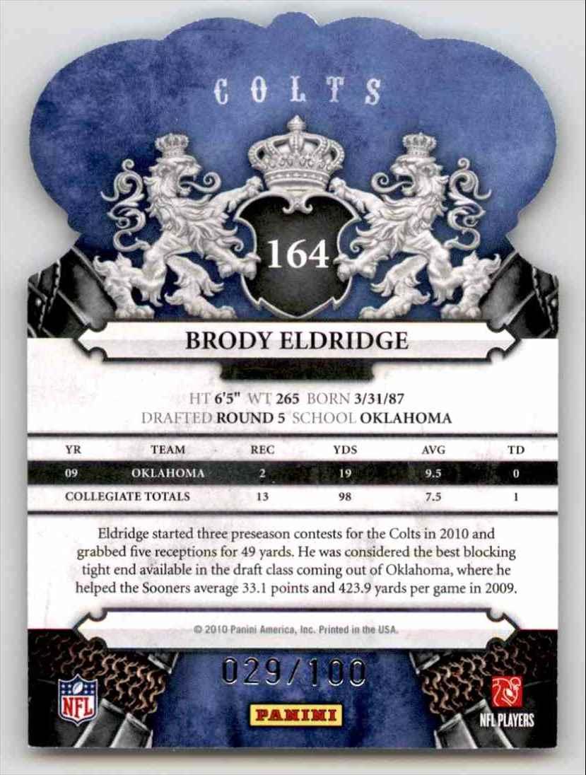 2010 Crown Royale Blue Brody Eldridge #164 card back image