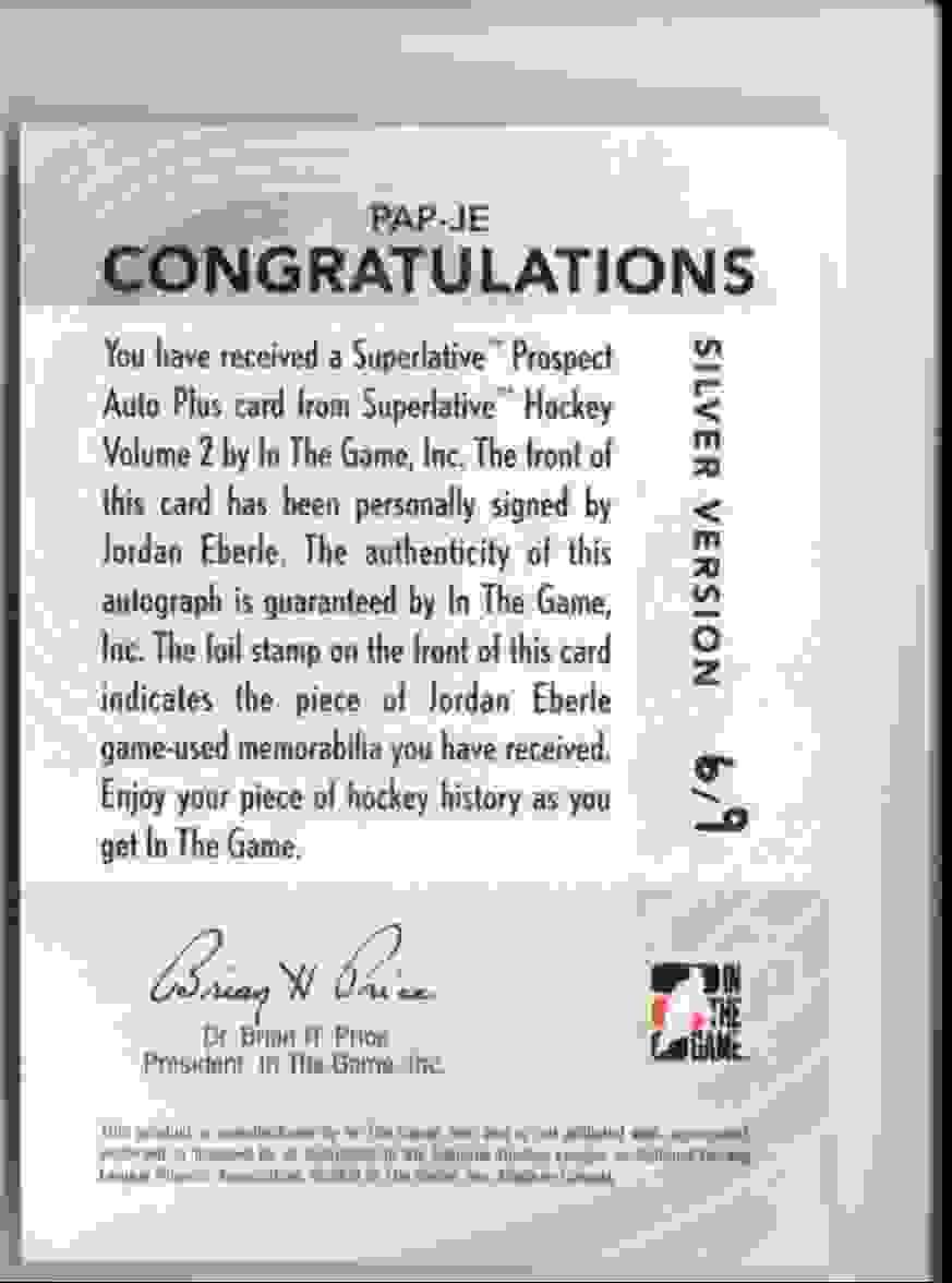 2009-10 ITG Superlative Prospect Jordan Eberle #PAP-JE card back image