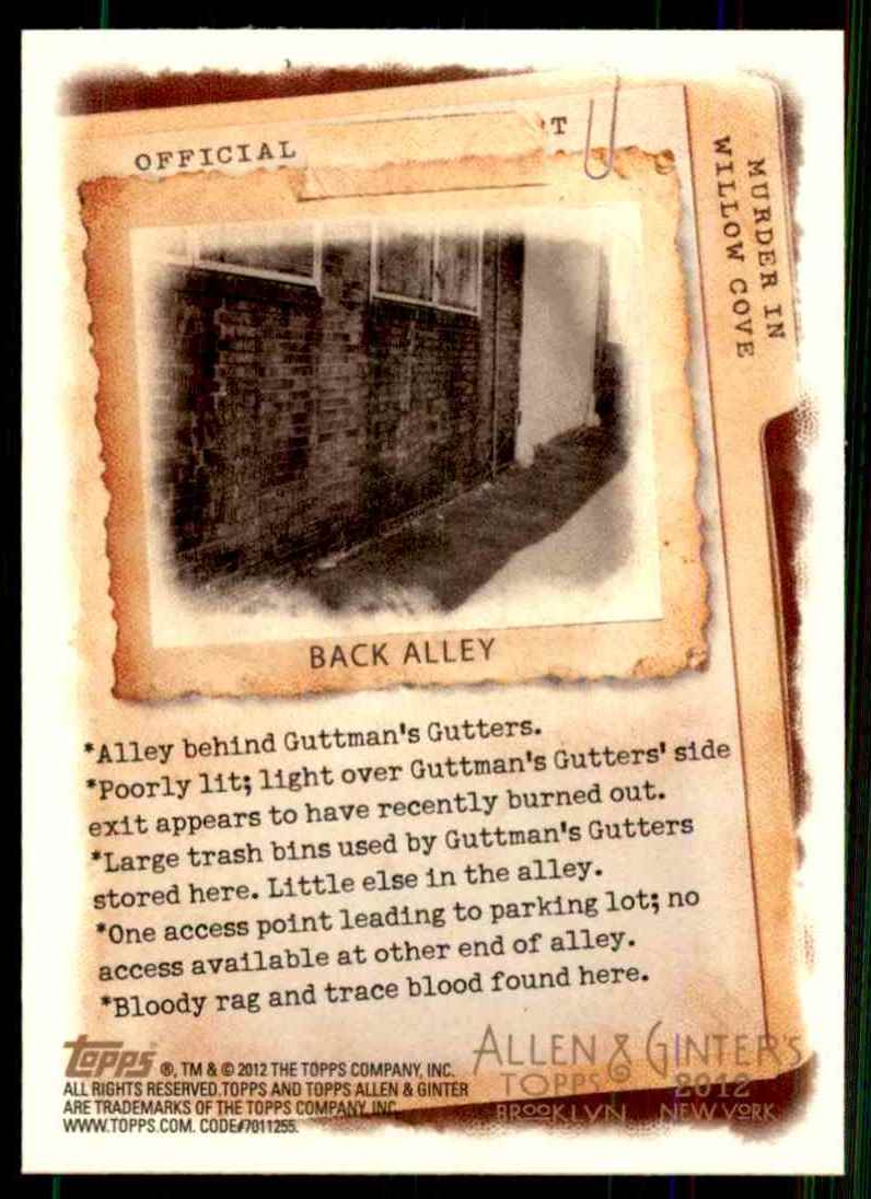 2012 Topps Allen & Ginter Murder In Willow Cove Code Cards Back Alley #2 card back image