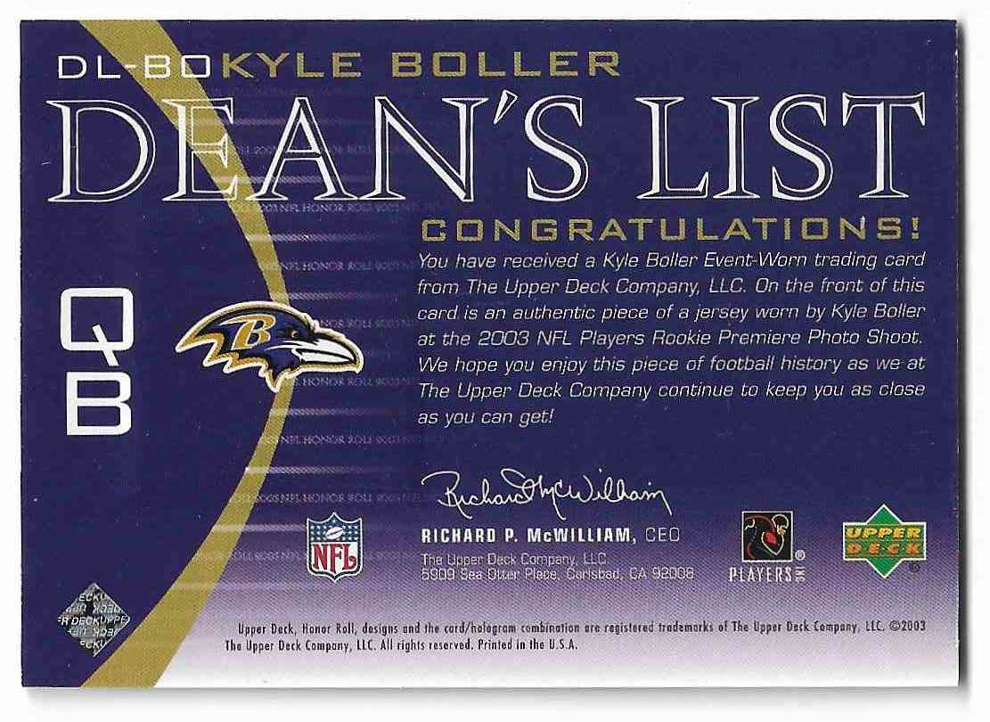 2003 Upper Deck Honor Roll Kyle Boller #DL-BO card back image