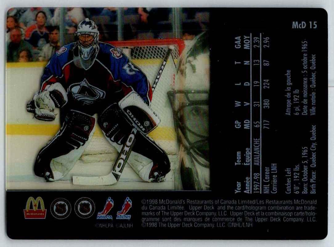 1998-99 Upper Deck McDonald's Patrick Roy #MCD15 card back image
