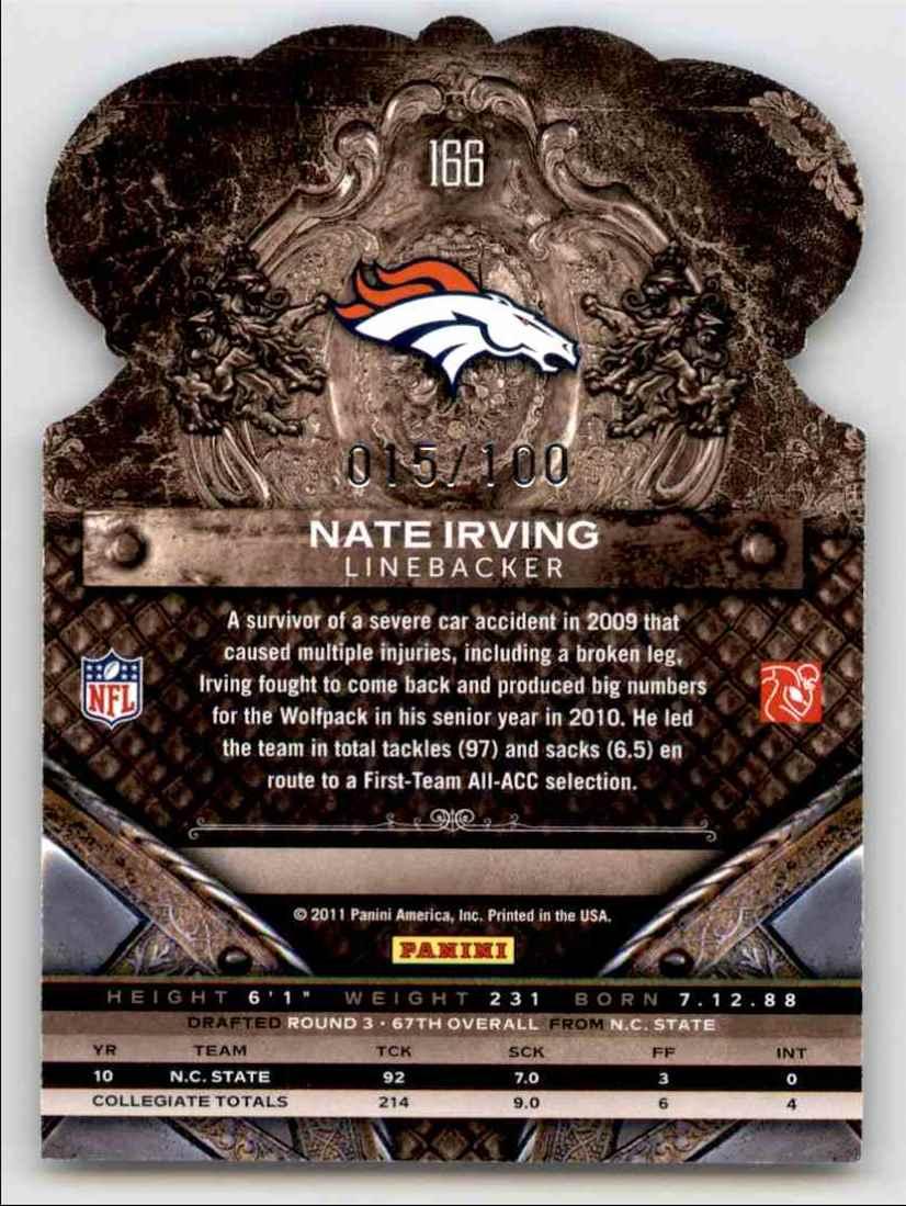 2011 Crown Royale Blue Nate Irving #166 card back image
