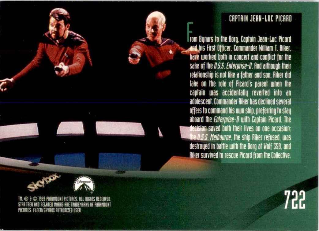 1994 Star Trek The Next Generation Episode Collection Commander William T. Riker #722 card back image