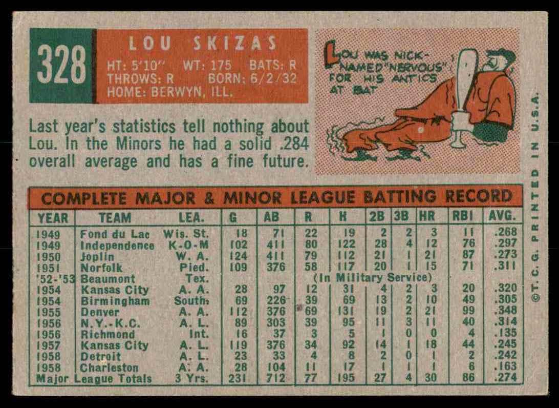 1959 Topps Lou Skizas #328 card back image