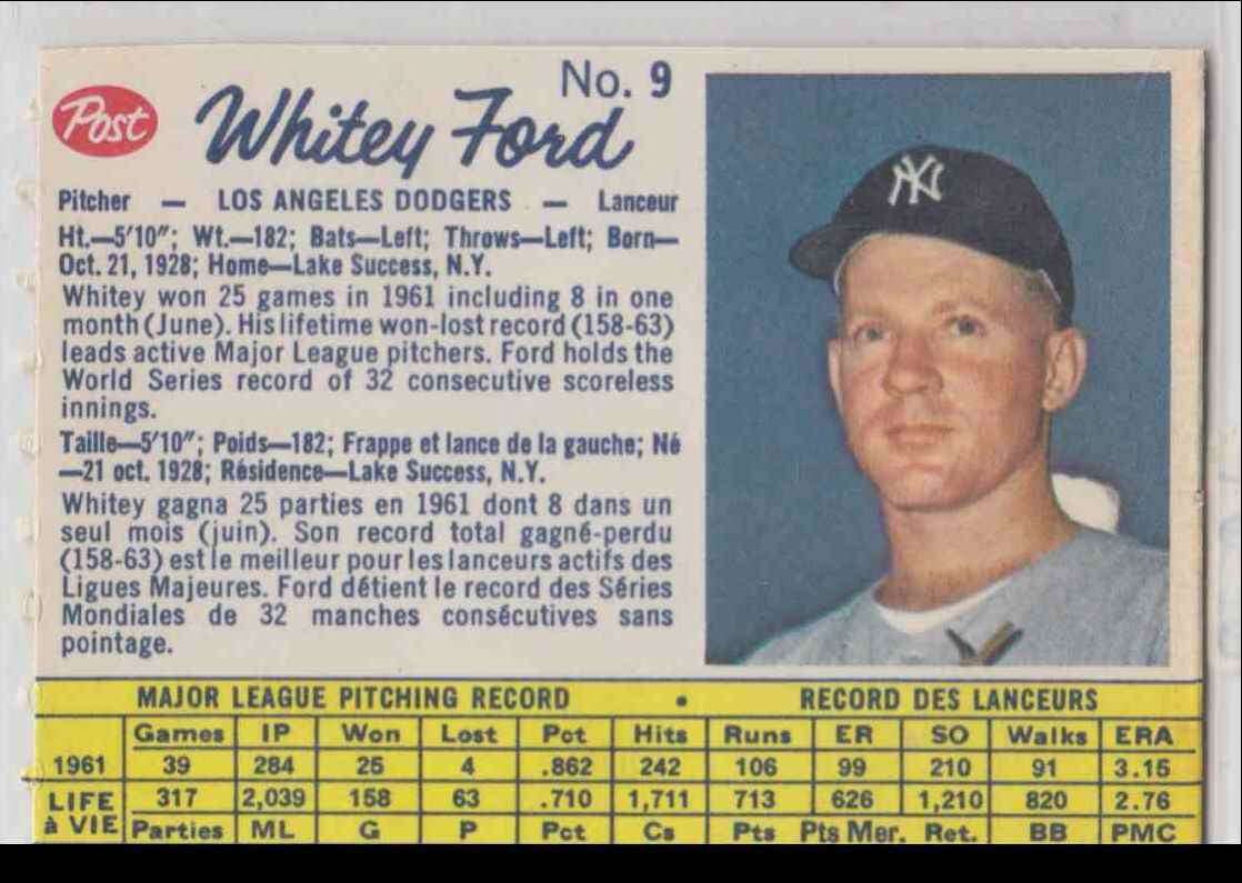1962 Post Canadian Whitney Ford #9 card front image