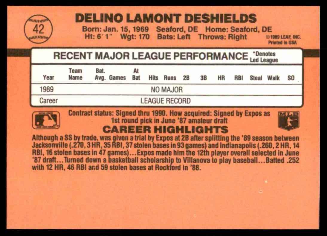 1990 Donruss Delino DeShields #42 card back image