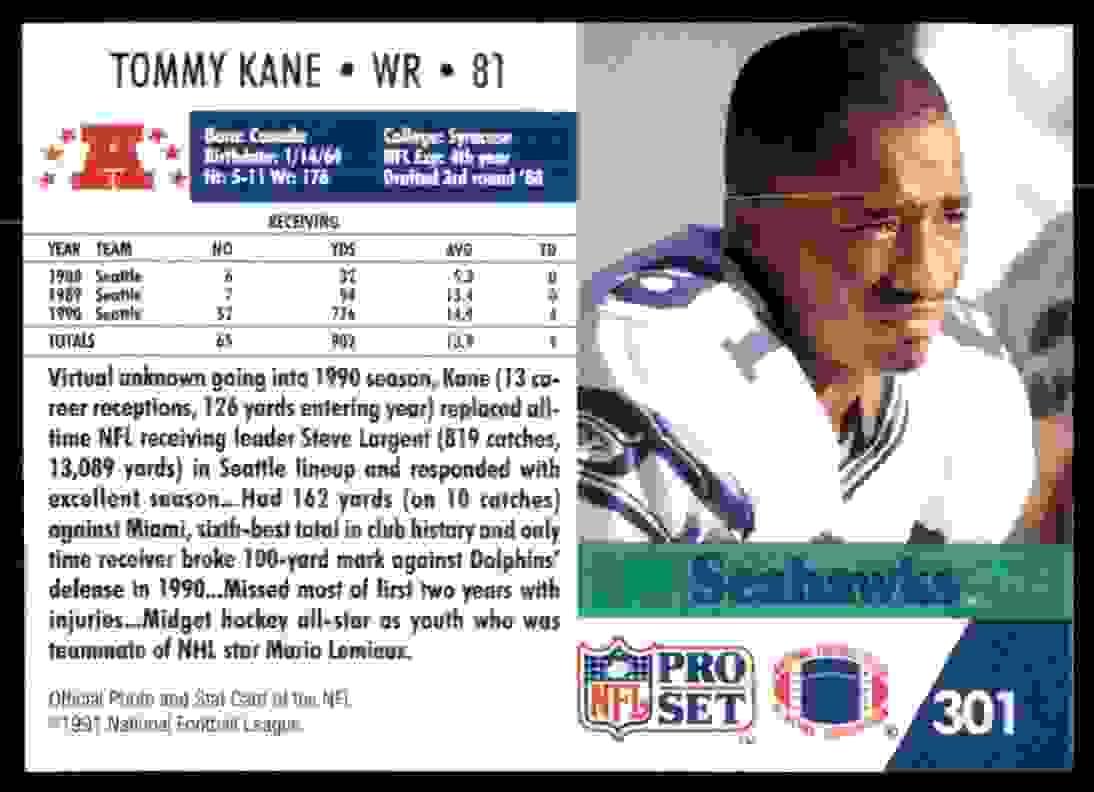 1991 Nfl Pro Set Tommy Kane 301 On Kronozio