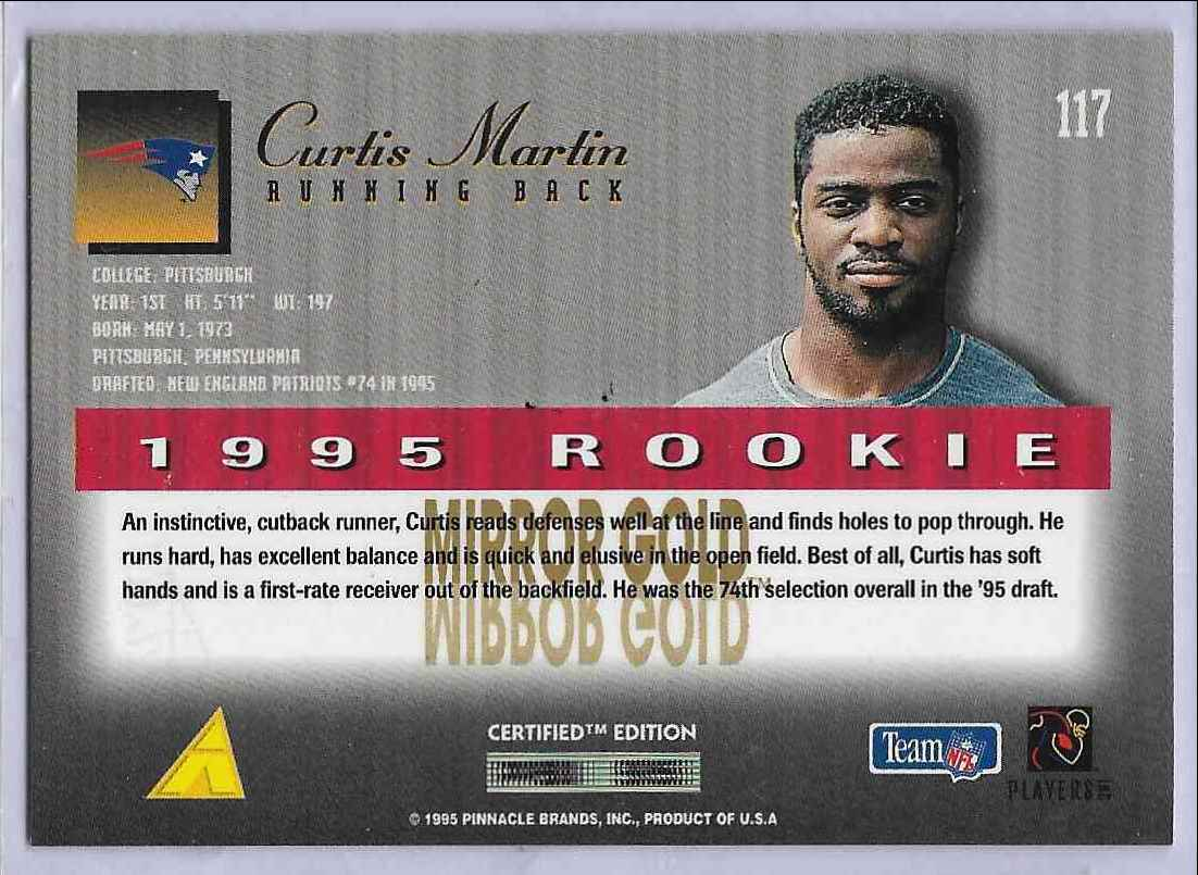 1995 Select Certified Edition Curtis Martin #117 card back image
