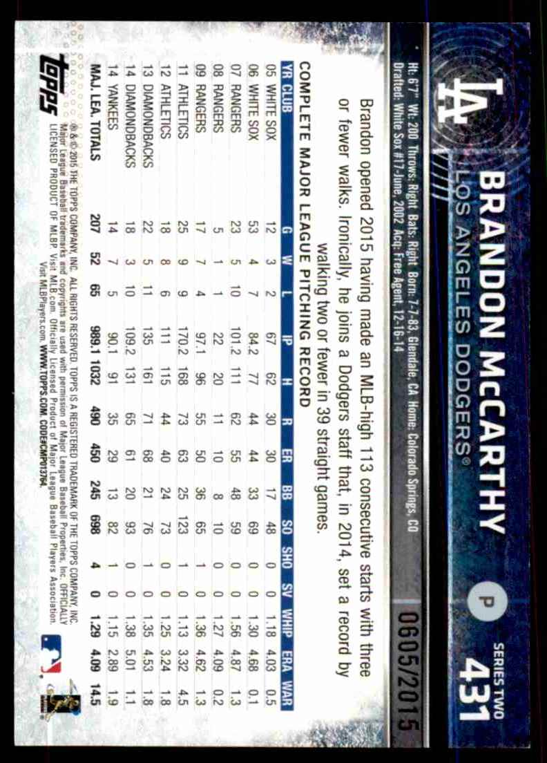 2015 Topps Gold Brandon McCarthy #431 card back image