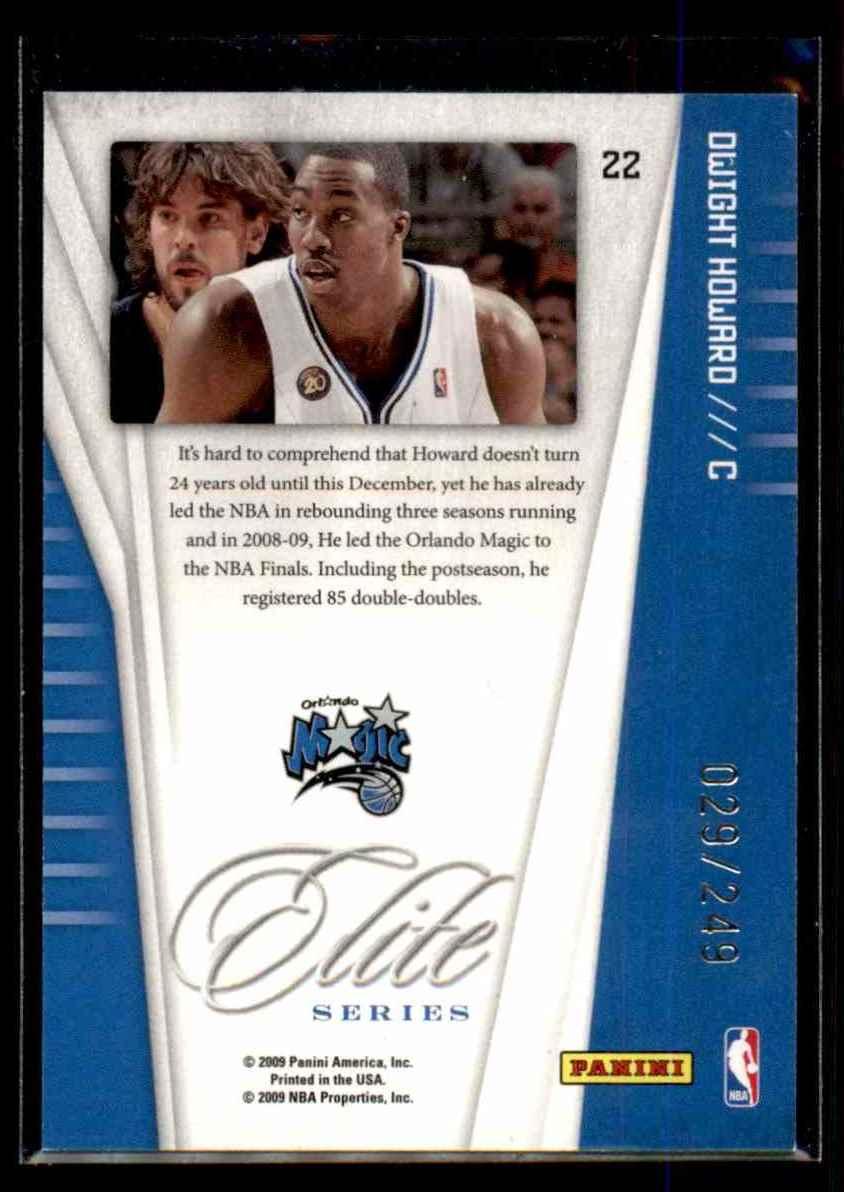 2009-10 Donruss Elite Series Red Dwight Howard #22 card back image