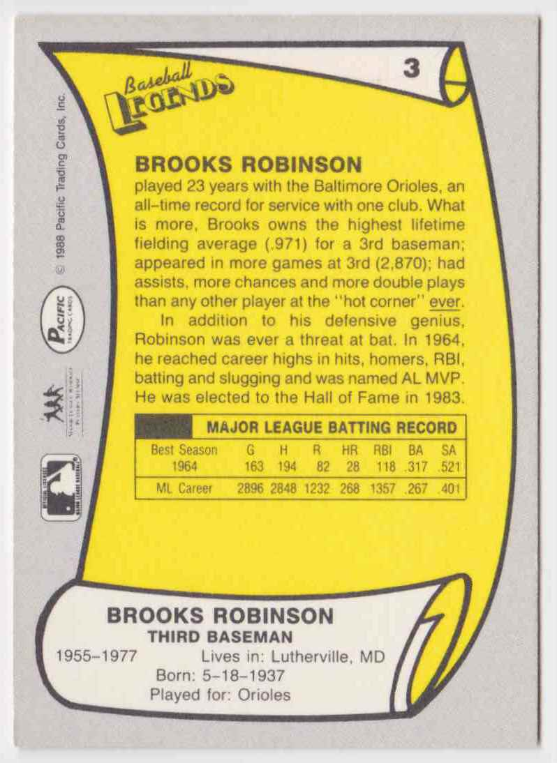 1988 Pacific Baseball Legends Brooks Robinson #3 card back image