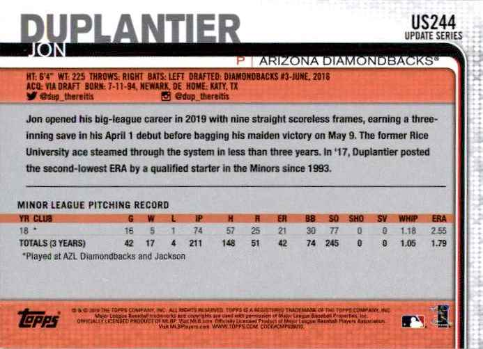 2019 Topps Update Jon Duplantier #US244 card back image