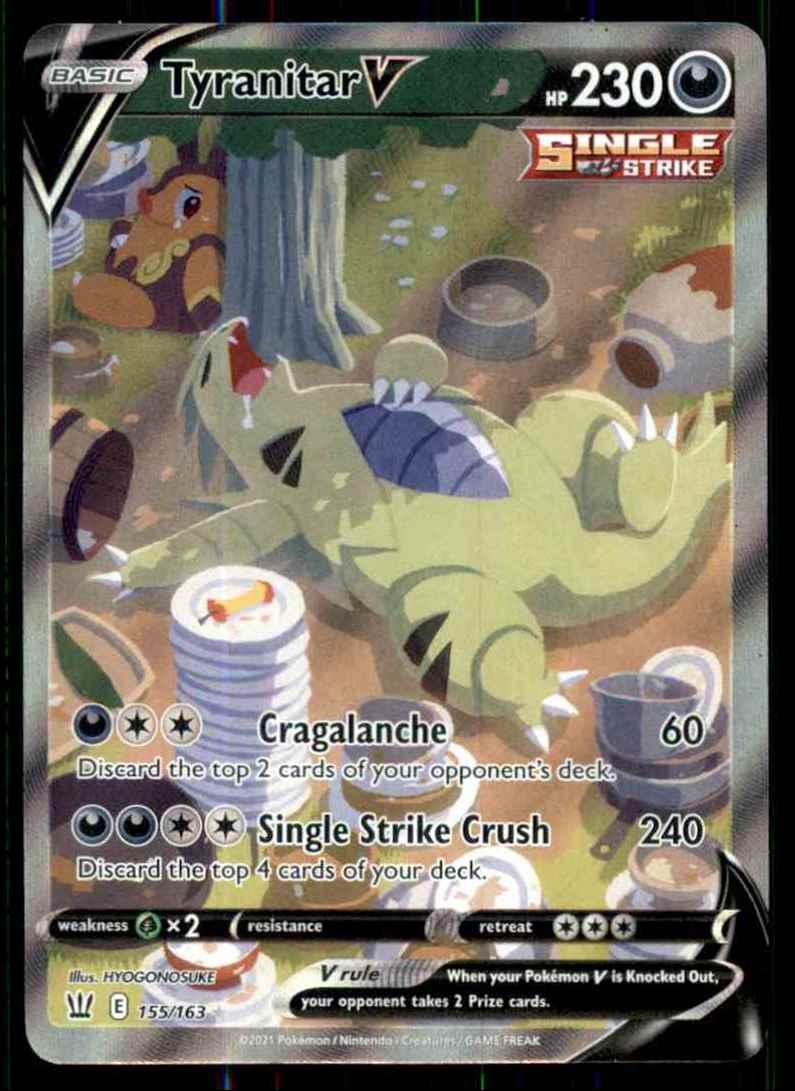 2021 Pokemon Sword And Shield Battle Styles Tyranitar V Ur #155 card front image