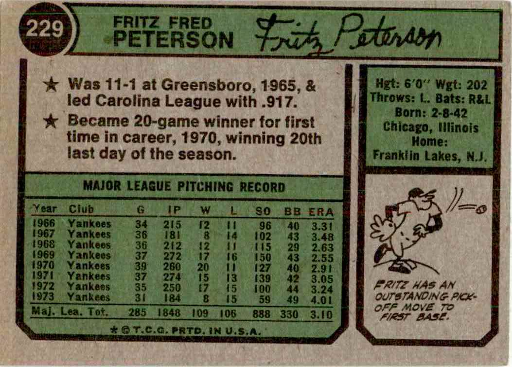 1974 Topps Fritz Peterson #229 card back image