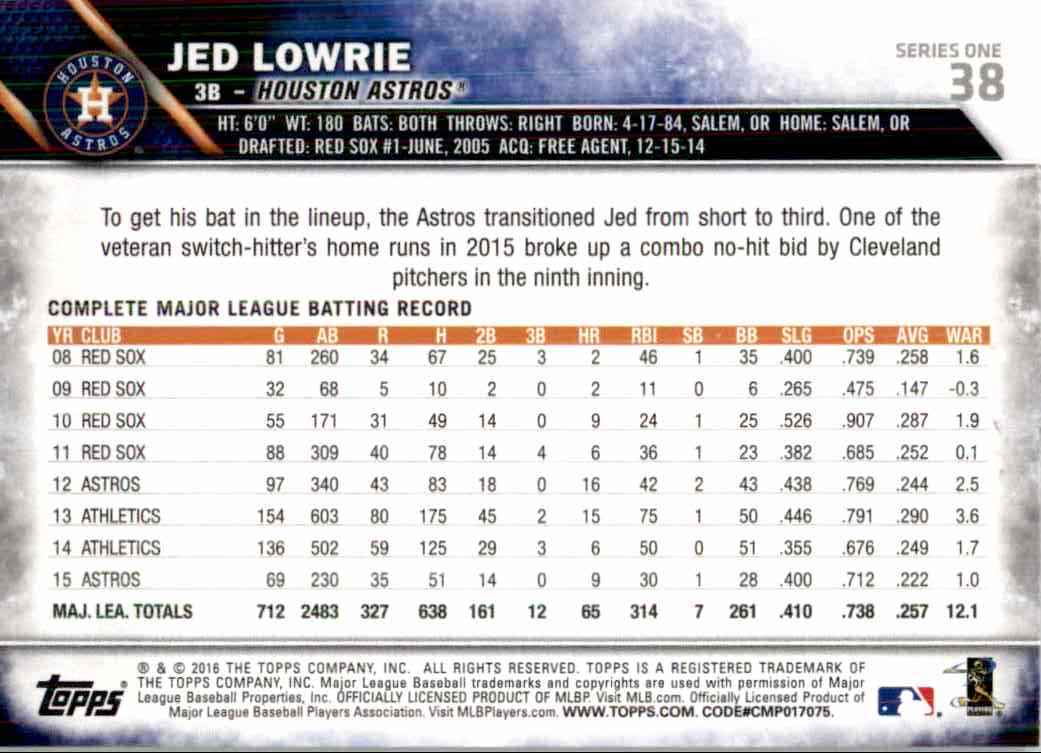 2016 Topps Rainbow Foil Jed Lowrie #38 card back image