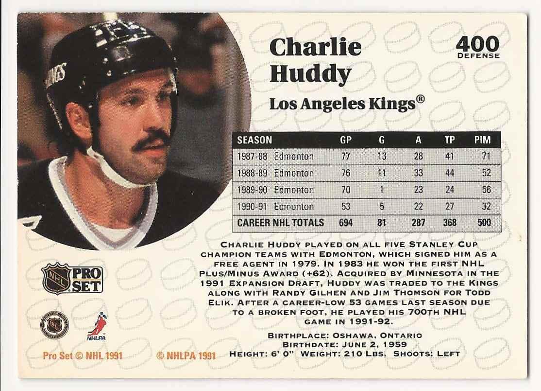 1991-92 Pro Set Charlie Huddy #400 card back image