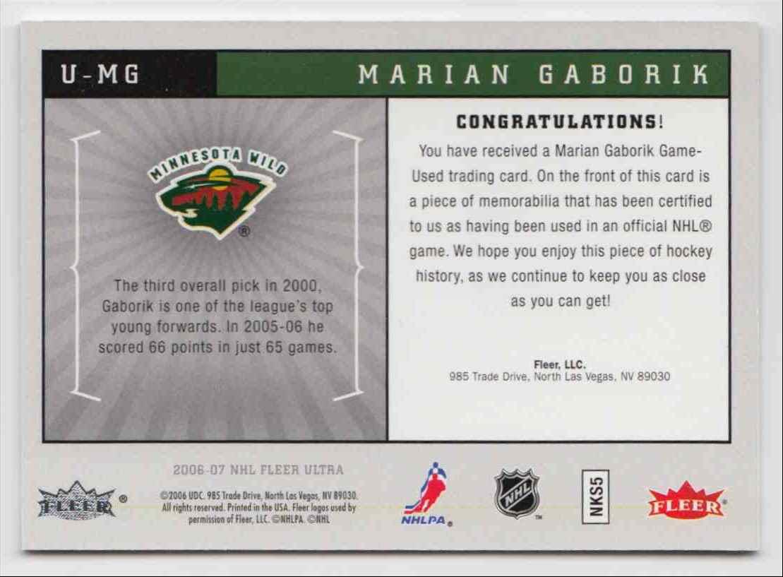 2006-07 Ultra Uniformity Jersey Marian Gaborik #U-MG card back image