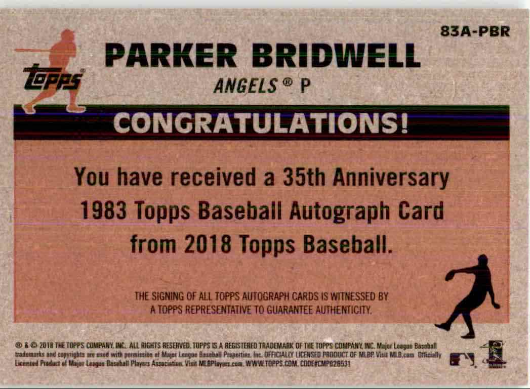 2018 Topps Parker Bridwell card back image