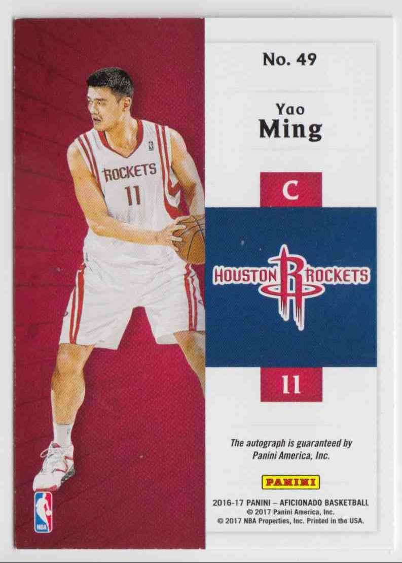 2016-17 Panini Aficionado Endorsements Yao Ming #49 card back image