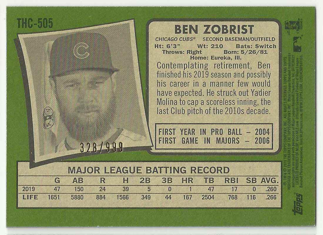 2020 Topps Heritage Chrome Ben Zobrist #505 card back image