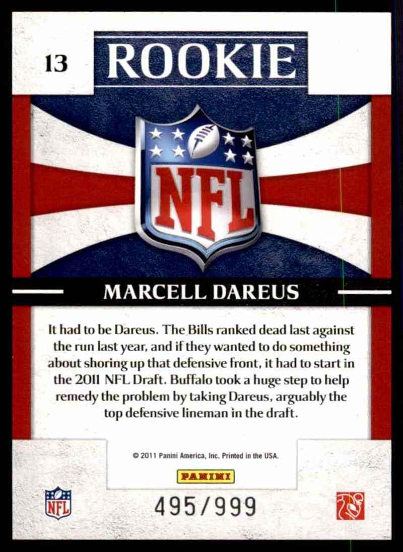 2011 Donruss Elite Rookie NFL Shield Marcell Dareus #13 card back image