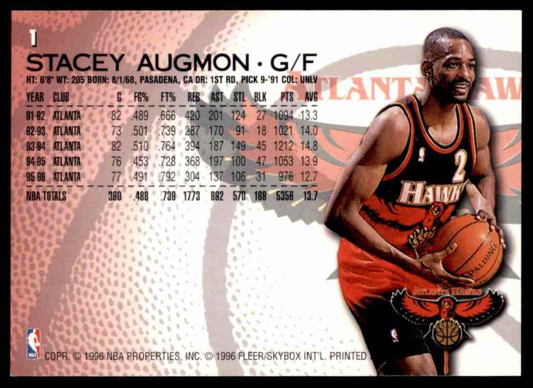 1996-97 Fleer Stacey Augmon #1 card back image