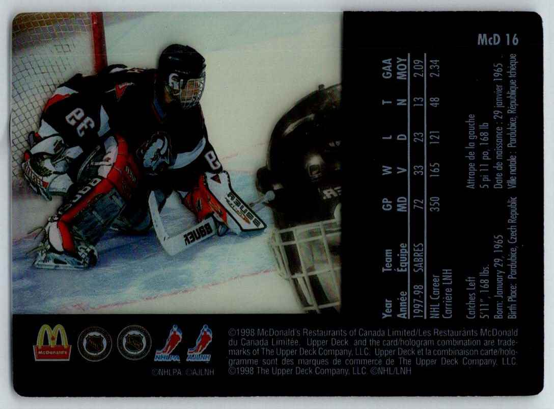 1998-99 Upper Deck McDonald's Dominik Hasek #MCD16 card back image