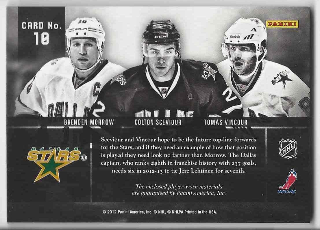 2011-12 Panini Prime Trios Jerseys Brenden Morrow Colton Sceviour Tomas Vincour #10 card back image