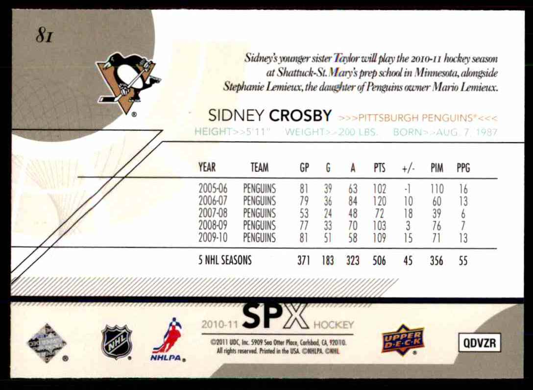 2010-11 Spx Sidney Crosby #81 card back image