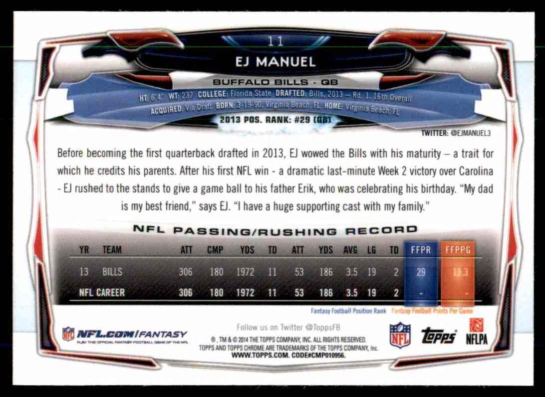 2014 Topps Chrome Refractors Ej Manuel #11 card back image