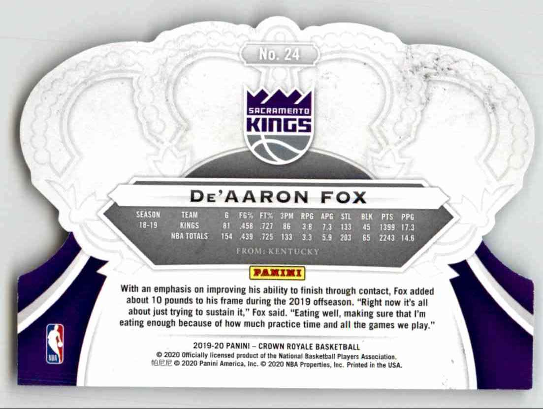 2019-20 Crown Royale De'Aaron Fox #24 card back image