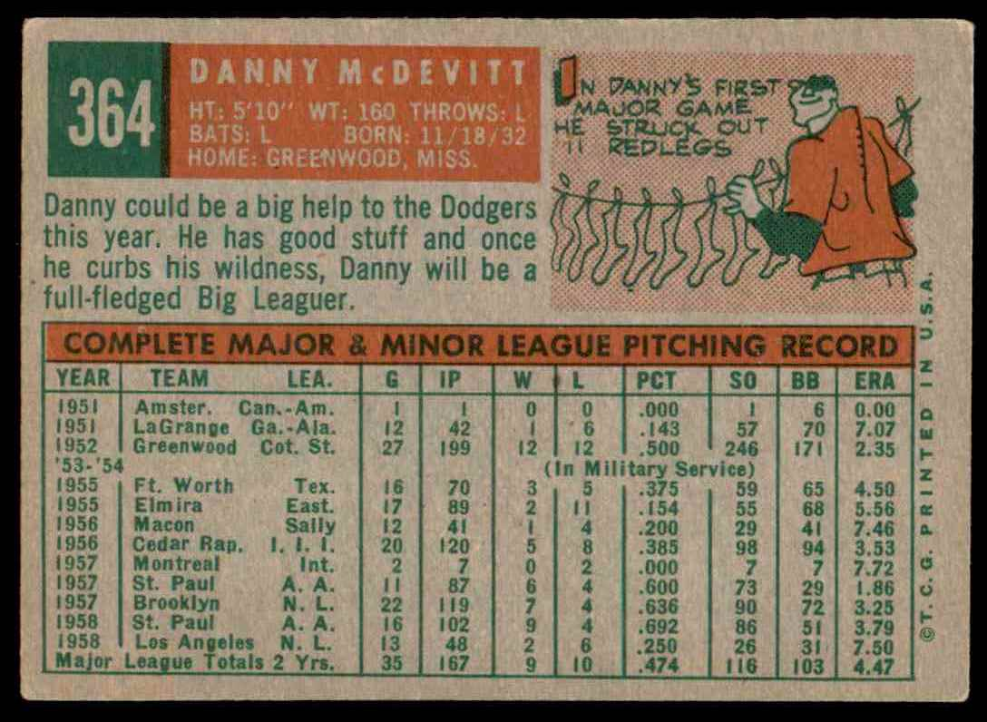 1959 Topps Danny McDevitt #364 card back image
